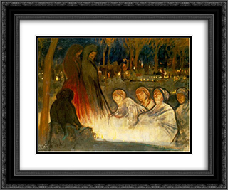 All Souls' Day 24x20 Black or Gold Ornate Framed and Double Matted Art Print by Aladar Korosfoi Kriesch