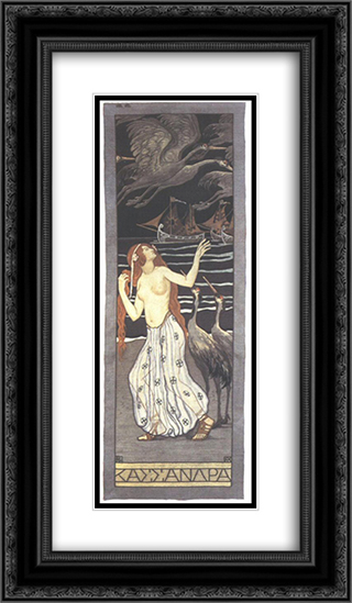 Cassandra 14x24 Black or Gold Ornate Framed and Double Matted Art Print by Aladar Korosfoi Kriesch