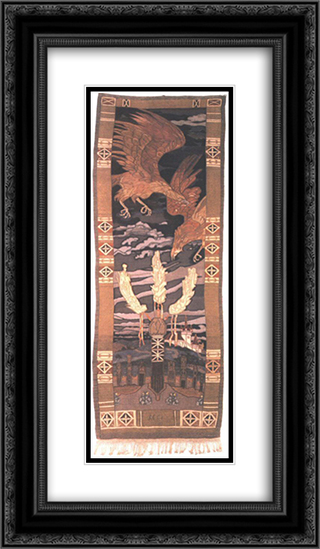 Eagles above the Hero's Grave 14x24 Black or Gold Ornate Framed and Double Matted Art Print by Aladar Korosfoi Kriesch