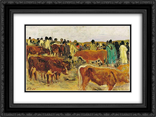 Fair 24x18 Black or Gold Ornate Framed and Double Matted Art Print by Aladar Korosfoi Kriesch