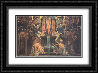 Fountain of Art 24x18 Black or Gold Ornate Framed and Double Matted Art Print by Aladar Korosfoi Kriesch