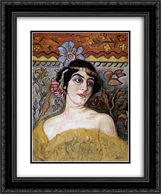 Lady with Tiara 20x24 Black or Gold Ornate Framed and Double Matted Art Print by Aladar Korosfoi Kriesch