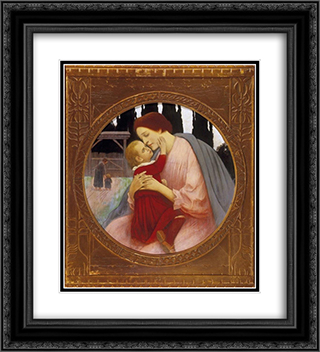 Madonna 20x22 Black or Gold Ornate Framed and Double Matted Art Print by Aladar Korosfoi Kriesch
