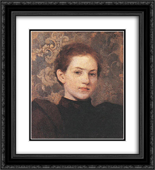 Portrait of Kriesch Laura 20x22 Black or Gold Ornate Framed and Double Matted Art Print by Aladar Korosfoi Kriesch