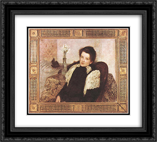Portrait of the Artist's Wife 22x20 Black or Gold Ornate Framed and Double Matted Art Print by Aladar Korosfoi Kriesch