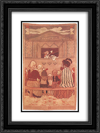 Pupppet Theatre 18x24 Black or Gold Ornate Framed and Double Matted Art Print by Aladar Korosfoi Kriesch