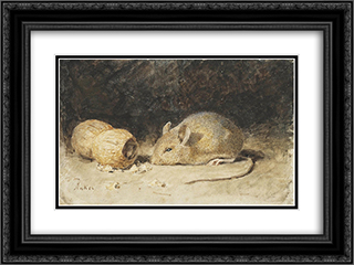 A mouse with a peanut 24x18 Black or Gold Ornate Framed and Double Matted Art Print by Albert Anker
