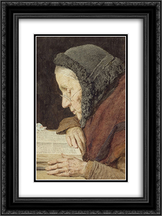 altere Frau in der Bibel lesend 18x24 Black or Gold Ornate Framed and Double Matted Art Print by Albert Anker