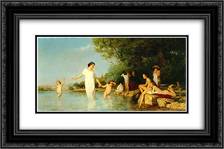 Bathers 24x16 Black or Gold Ornate Framed and Double Matted Art Print by Albert Anker