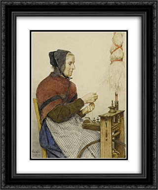 Bauerin am Spinnrad 20x24 Black or Gold Ornate Framed and Double Matted Art Print by Albert Anker