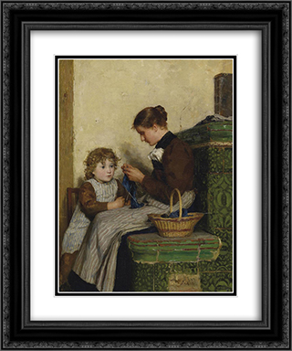 Bertha Gugger mit Tochter 20x24 Black or Gold Ornate Framed and Double Matted Art Print by Albert Anker