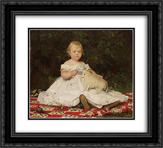 Bildnis Emilie Weiss (mit Pluschtier) 22x20 Black or Gold Ornate Framed and Double Matted Art Print by Albert Anker