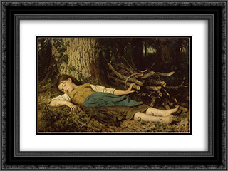 Dans les bois 24x18 Black or Gold Ornate Framed and Double Matted Art Print by Albert Anker