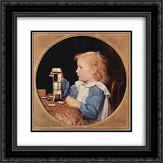 Das Madchen mit den Dominosteinen, Tondo 20x20 Black or Gold Ornate Framed and Double Matted Art Print by Albert Anker