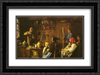Der Quacksalber 24x18 Black or Gold Ornate Framed and Double Matted Art Print by Albert Anker