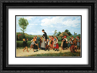 Der Schulspaziergang 24x18 Black or Gold Ornate Framed and Double Matted Art Print by Albert Anker