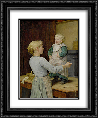 Die altere Schwester 20x24 Black or Gold Ornate Framed and Double Matted Art Print by Albert Anker