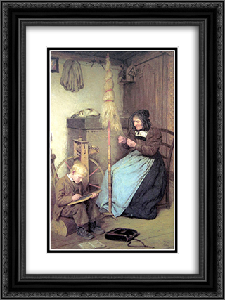 Die Arbeitsamen 18x24 Black or Gold Ornate Framed and Double Matted Art Print by Albert Anker