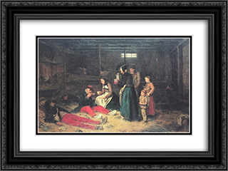 Die Bourbakis 24x18 Black or Gold Ornate Framed and Double Matted Art Print by Albert Anker