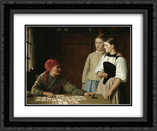 Die Kartenlgerin 24x20 Black or Gold Ornate Framed and Double Matted Art Print by Albert Anker