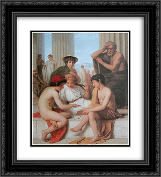 Die Knochelspieler 20x22 Black or Gold Ornate Framed and Double Matted Art Print by Albert Anker