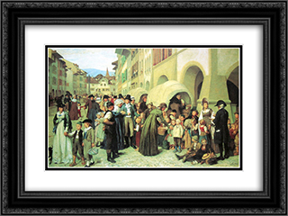 Die Landerkinder 24x18 Black or Gold Ornate Framed and Double Matted Art Print by Albert Anker