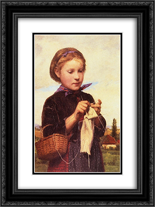 Girl Knitting 18x24 Black or Gold Ornate Framed and Double Matted Art Print by Albert Anker