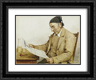 Grossvater mit Zeitung 24x20 Black or Gold Ornate Framed and Double Matted Art Print by Albert Anker