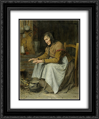 Hohes Alter II (alte Frau sich aufwarmend) 20x24 Black or Gold Ornate Framed and Double Matted Art Print by Albert Anker