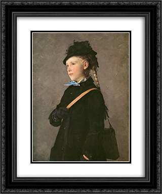 Huftbild eines Madchens (Marie Anker) 20x24 Black or Gold Ornate Framed and Double Matted Art Print by Albert Anker