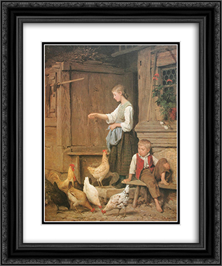 Jeune fille nourrissant les poules 20x24 Black or Gold Ornate Framed and Double Matted Art Print by Albert Anker