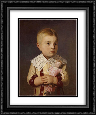 Kind mit Puppe 20x24 Black or Gold Ornate Framed and Double Matted Art Print by Albert Anker