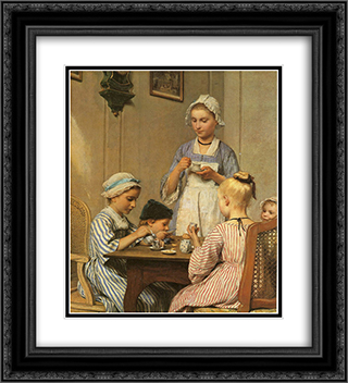 Kinderfruhstuck 20x22 Black or Gold Ornate Framed and Double Matted Art Print by Albert Anker