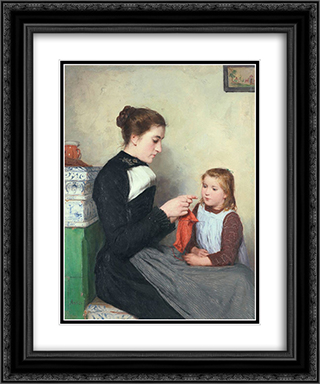 Knitting Bernese woman with child 20x24 Black or Gold Ornate Framed and Double Matted Art Print by Albert Anker