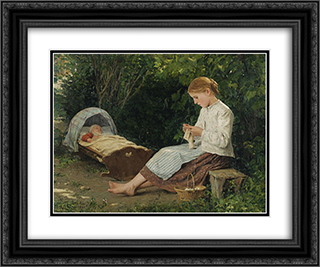 Knitting Girl Watching the Toddler in a Craddle 24x20 Black or Gold Ornate Framed and Double Matted Art Print by Albert Anker