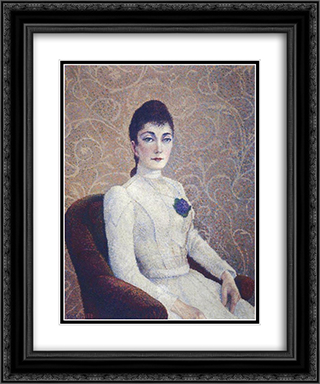 La Dame a la Robe Blanche 20x24 Black or Gold Ornate Framed and Double Matted Art Print by Albert Dubois Pillet