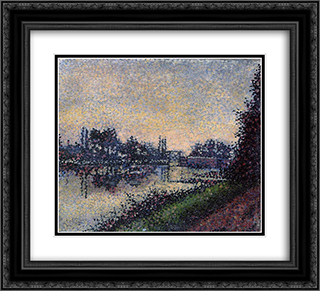 Landscape with a Lock 22x20 Black or Gold Ornate Framed and Double Matted Art Print by Albert Dubois Pillet