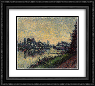 Landscape with Lock 22x20 Black or Gold Ornate Framed and Double Matted Art Print by Albert Dubois Pillet