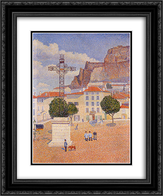Le Puy. The Sunny Plaza 20x24 Black or Gold Ornate Framed and Double Matted Art Print by Albert Dubois Pillet
