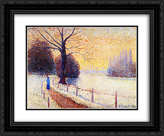 Le Puy in the Snow 24x20 Black or Gold Ornate Framed and Double Matted Art Print by Albert Dubois Pillet