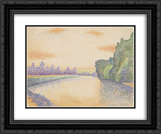 The Banks of the Marne at Dawn 24x20 Black or Gold Ornate Framed and Double Matted Art Print by Albert Dubois Pillet