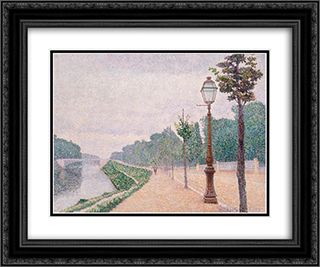 The Banks of the Seine at Neuilly 24x20 Black or Gold Ornate Framed and Double Matted Art Print by Albert Dubois Pillet