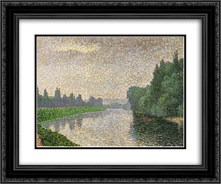 The Marne at Dawn 24x20 Black or Gold Ornate Framed and Double Matted Art Print by Albert Dubois Pillet