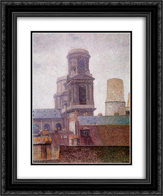 The Towers, Saint-Sulpice 20x24 Black or Gold Ornate Framed and Double Matted Art Print by Albert Dubois Pillet