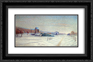 Winter Landscape 24x16 Black or Gold Ornate Framed and Double Matted Art Print by Albert Dubois Pillet