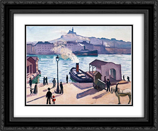 A Horse in Marseille 24x20 Black or Gold Ornate Framed and Double Matted Art Print by Albert Marquet