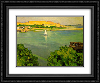 Assouan, Morning 24x20 Black or Gold Ornate Framed and Double Matted Art Print by Albert Marquet
