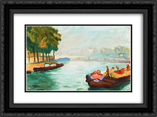 Banks of the Seine, Paris 24x18 Black or Gold Ornate Framed and Double Matted Art Print by Albert Marquet