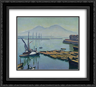 Bay of Naples 22x20 Black or Gold Ornate Framed and Double Matted Art Print by Albert Marquet