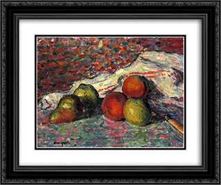 Fruit, Knife and Napkin 24x20 Black or Gold Ornate Framed and Double Matted Art Print by Albert Marquet